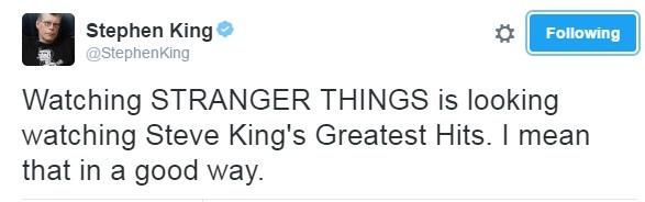 Stephen King Stranger Things tweet